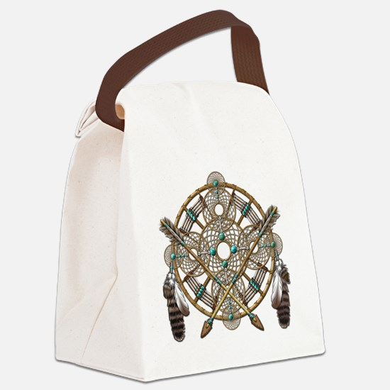 Turquoise Silver Dreamcatcher Canvas Lunch Bag
