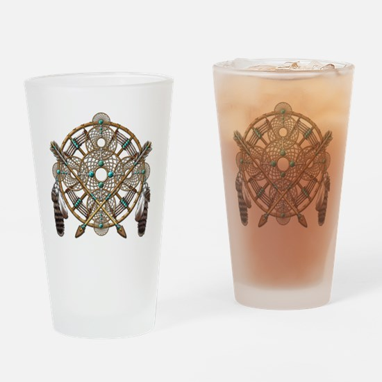 Turquoise Silver Dreamcatcher Drinking Glass