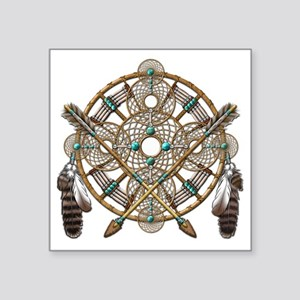 "Turquoise Silver Dreamcatch Square Sticker 3"" x 3"""