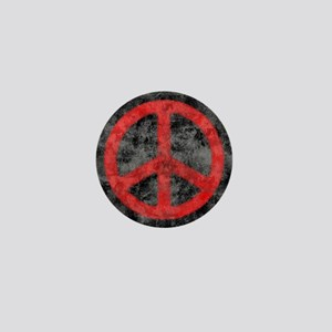 Distressed Red Peace Sign Mini Button