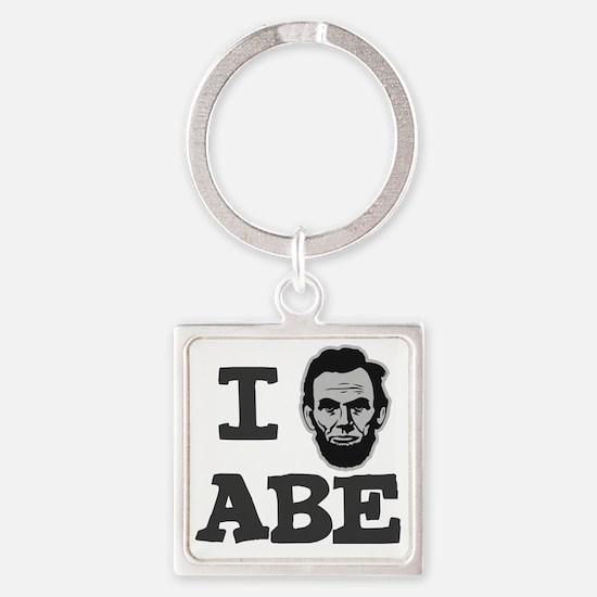 I-love-Abe-Grey Square Keychain