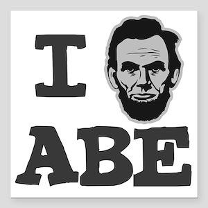"I-love-Abe-Grey Square Car Magnet 3"" x 3"""