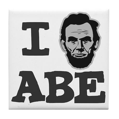 I-love-Abe-Grey Tile Coaster