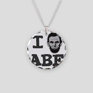 I-love-Abe-Grey Necklace Circle Charm