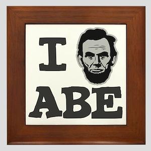 I-love-Abe-Grey Framed Tile