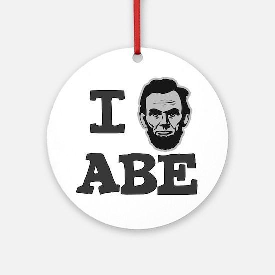 I-love-Abe-Grey Round Ornament