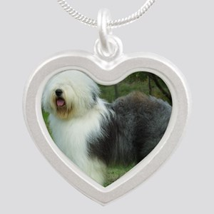 Old English Sheepdog 9F054D- Silver Heart Necklace