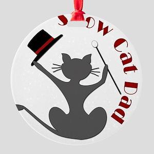 Show Cat Dad Button Round Ornament