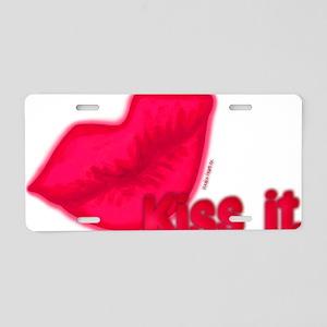 pinkkissdiagwithwords Aluminum License Plate