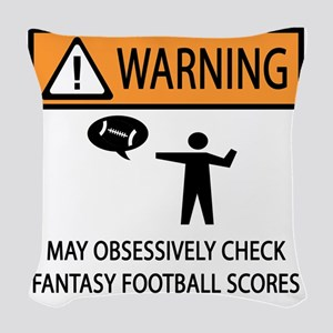 CHECK FANTASY FOOTBALL SCORES Woven Throw Pillow