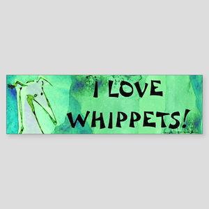 Green Whippet Love Bumper Sticker
