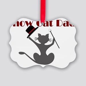 Show Cat Dad Oval Sticker Picture Ornament