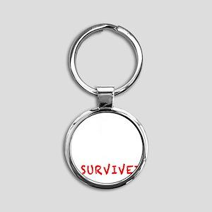 SurvivalKitwhite Round Keychain