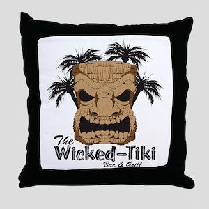 Wicked Tiki Bar  Grill Throw Pillow