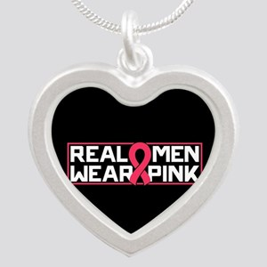 Real Men Wear Pink Silver Heart Necklace