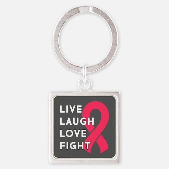 Live Laugh Love Fight Square Keychain
