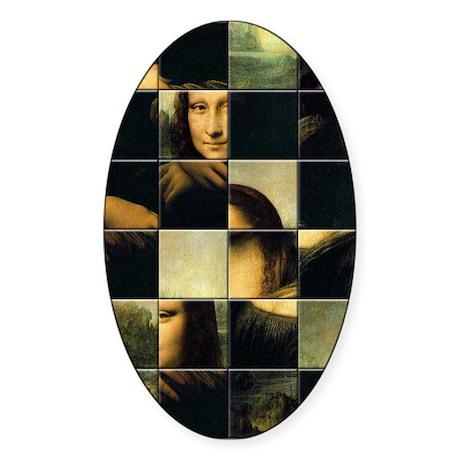 Mona Lisa Puzzle Oval Sticker