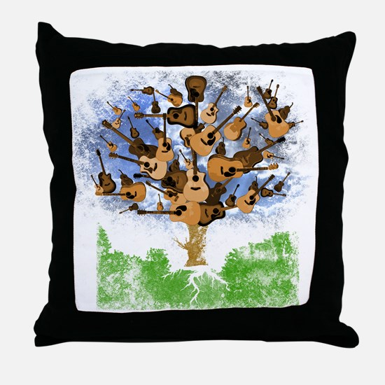 guitar tree color Throw Pillow
