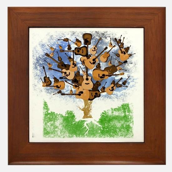 guitar tree color Framed Tile