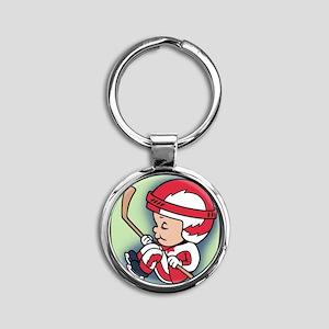 hockey-womb-T Round Keychain