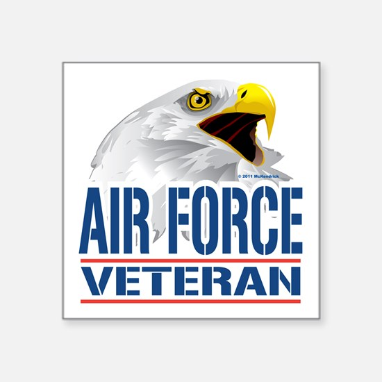 "Air-Force-Eagle-Veteran Square Sticker 3"" x 3"""