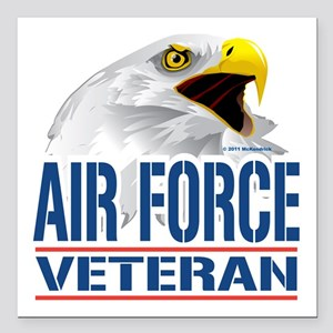 "Air-Force-Eagle-Veteran Square Car Magnet 3"" x 3"""
