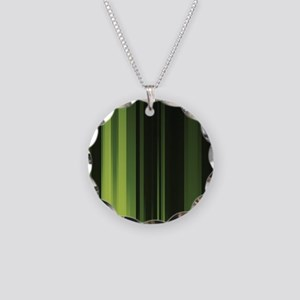 green stripes modern Necklace Circle Charm
