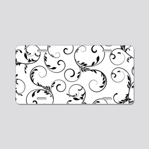 white black floral vintage Aluminum License Plate
