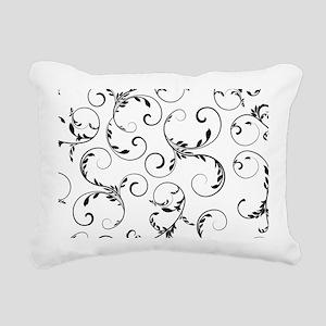 white black floral vinta Rectangular Canvas Pillow