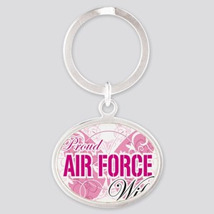 Proud-Air-Force-Wife Oval Keychain