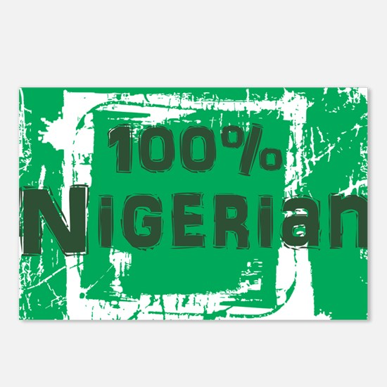 100% nigerian - green Postcards (Package of 8)