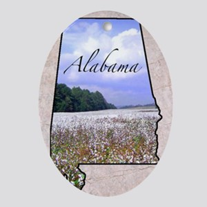 AlabamaMap8 Oval Ornament