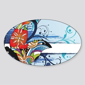 grunge butterfly Sticker (Oval)