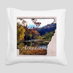 ArkansasMap28 Square Canvas Pillow