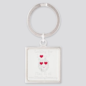 Looking for Love - Black Square Keychain