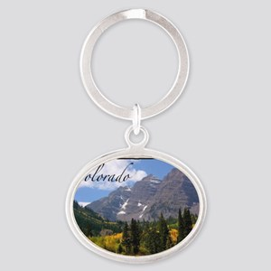 ColoradoMap28 Oval Keychain