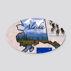 AlaskaMap28 Oval Car Magnet