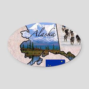 AlaskaMap28 Oval Car Magnet