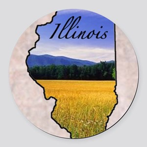 Illinois Round Car Magnet