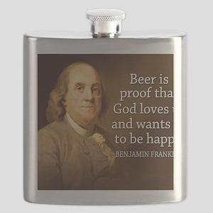 Ben Franklin quote on beer Flask