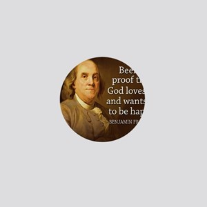 Ben Franklin quote on beer Mini Button