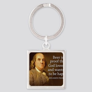 Ben Franklin quote on beer Square Keychain