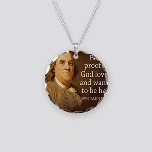 Ben Franklin quote on beer Necklace Circle Charm