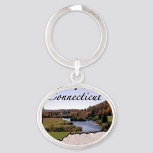 ConnecticutMap28 Oval Keychain