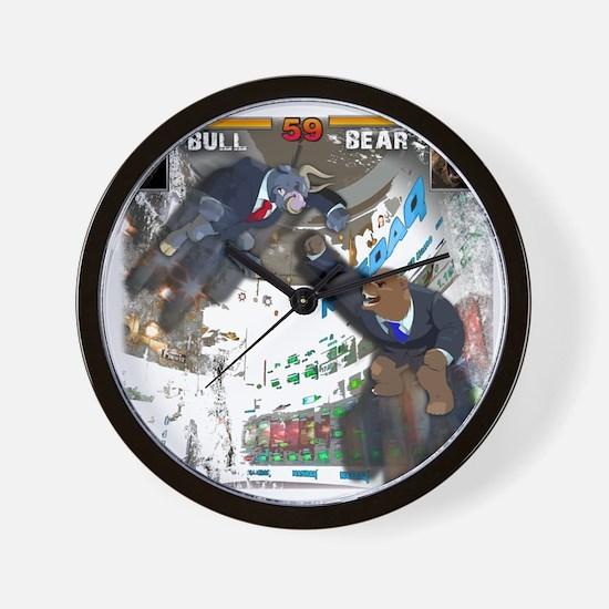 bull bear video game Wall Clock