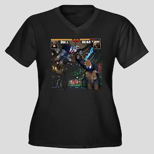 bull bear vi Women's Plus Size Dark V-Neck T-Shirt