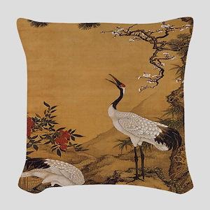cranes-woodblock-print-iPad-ca Woven Throw Pillow