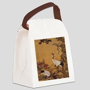 cranes-woodblock-print-iPad-case Canvas Lunch Bag