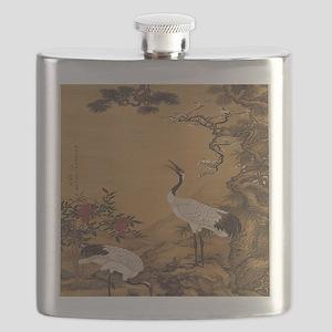 cranes-woodblock-print-iPad-case Flask