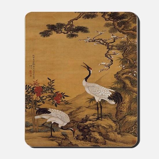 cranes-woodblock-print-iPad-case Mousepad